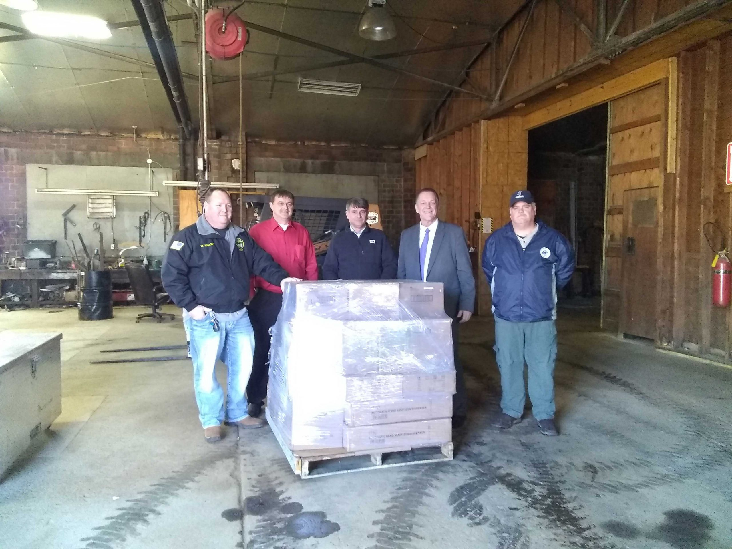 Commissioners and local officials with PPE shipment to Vinton County.